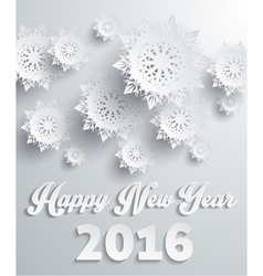 Happy New Year 2016 Snowflakes Background vector image
