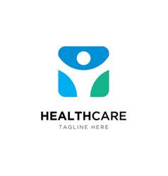 healthcare logo designhuman symbol vector image