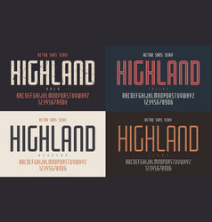 Highland condensed bold inline regular and vector
