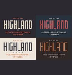 Highland condensed bold inline regular vector