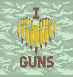 i love guns military concept vector image