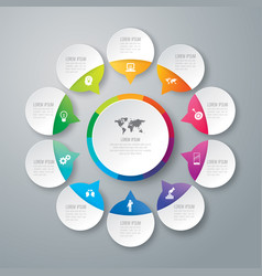 Infographics design with 10 options vector