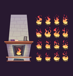 Interior fireplace keyframe animation burning vector