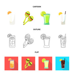 isolated object of cafe and latin logo set of vector image