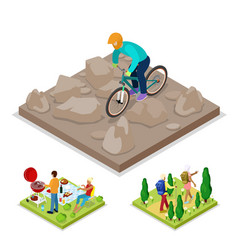 Isometric outdoor activity mountain bike vector