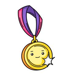 Kawaii gold medal on ribbon vector