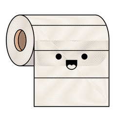 Kawaii roll paper towel i in colored crayon vector