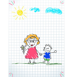 Kids doodle drawings of boy and woman together vector