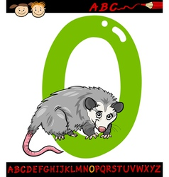 letter o for opossum cartoon vector image