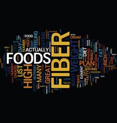 List high fiber foods text background word vector