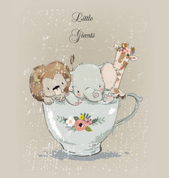 Little animals in cup vector
