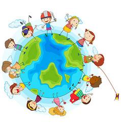 lots children around world vector image