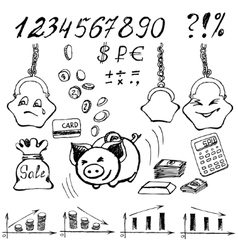 Money doodle vector image
