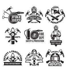 Monochrome labels set for fire department vector
