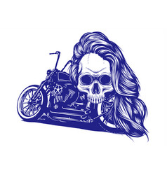 motorcycle woman skull design vector image