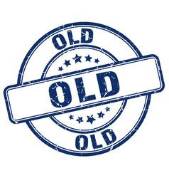 Old blue grunge round vintage rubber stamp vector