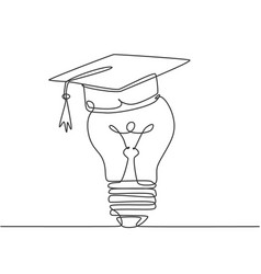 One single line drawing light bulb wearing vector