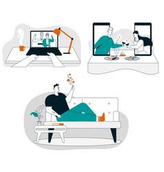 online communication technology relationships vector image
