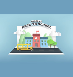 paper card of school and bus running on the road vector image
