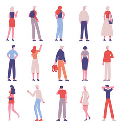 people back view male and female characters from vector image