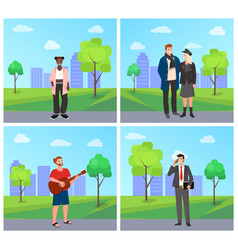people spending time in park couple and musician vector image