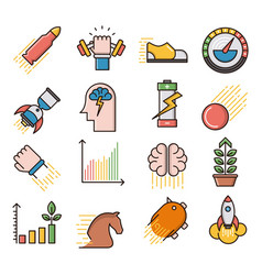 Performance filled outline icons vector