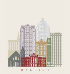 raleigh v2 skyline poster vector image vector image