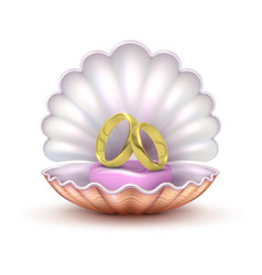 Reaistic golden wedding rings in seashell isolated vector