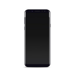 realistic black smart phone on white background vector image