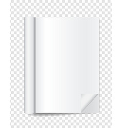 realistic blank open magazine with rolled white vector image