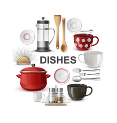 Realistic dishes and cutlery round concept vector