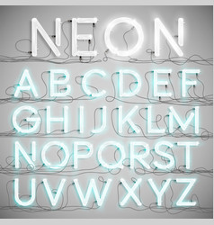 Realistic neon alphabet with wires on vector