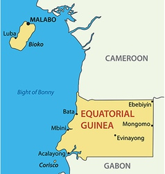 Equatorial Guinea Black White Map Royalty Free Vector Image