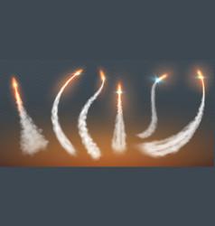 Rocket condensation trails fire jet steam effect vector
