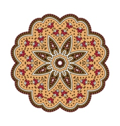 Round ethnic pattern in shades of brown vector