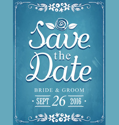save date wedding invitation vintage card vector image