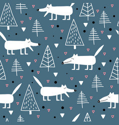 Seamless childish pattern with cute white wolves vector