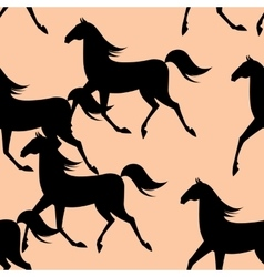 Seamless pattern with running horses vector image