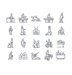 Set linear essential icons physiotherapy vector