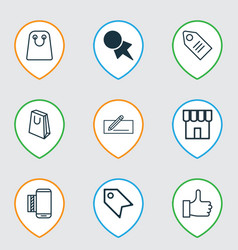 Set of 9 e-commerce icons includes ticket mobile vector