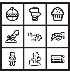 Set of flat icons in black and white Christmas vector image