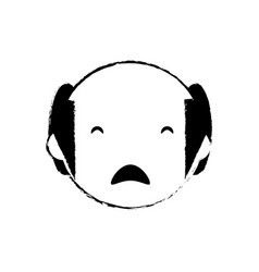 Skecth man bald sad face vector