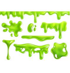 Slime green purulent blots slimy goo splashes vector