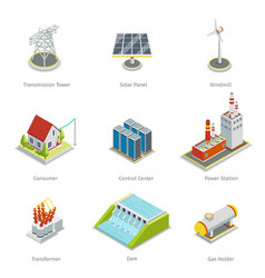 Smart grid elements Power items set vector