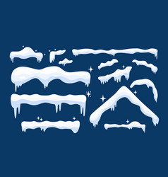 snow cap collection in winter seasons for design vector image