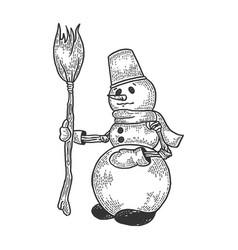 snowman sketch engraving vector image