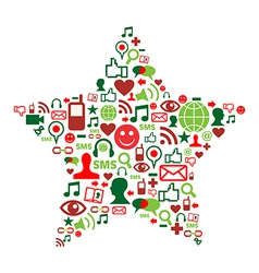 Social media icons in christmas star vector
