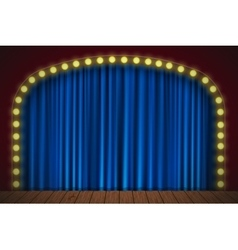 Stage with blue curtain vector
