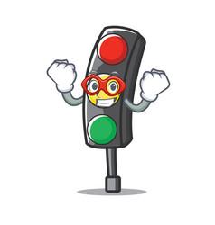 super hero traffic light character cartoon vector image