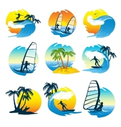 Surfing Icons Set With People vector image